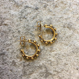 Beads 3mm Hoops Earrings (Antique Gold)