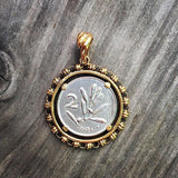 Filary Coin Bee silver Pendant Antique Gold