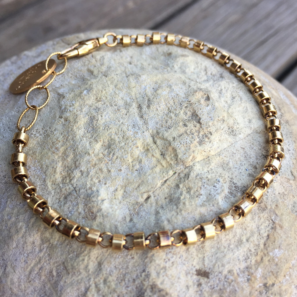 Cylinders 3mm Bracelet (Antique Gold)