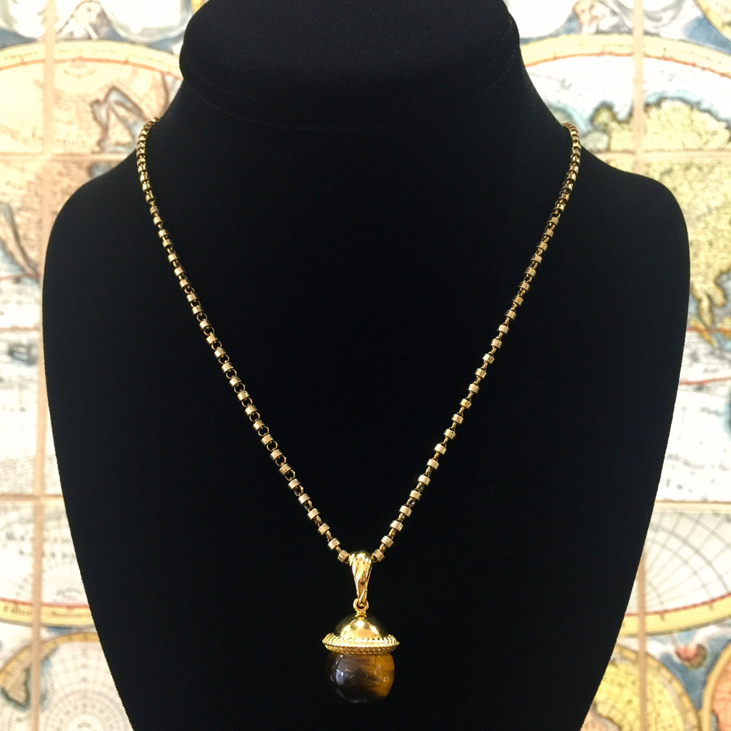 Tiger's Eye Cappellino Pendant (Antique Gold)