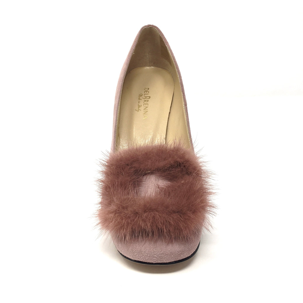 Dusty Rose Fluffed Fur Pumps