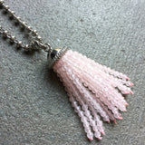 Rose Quartz Tassel Pendant (Rhodium)