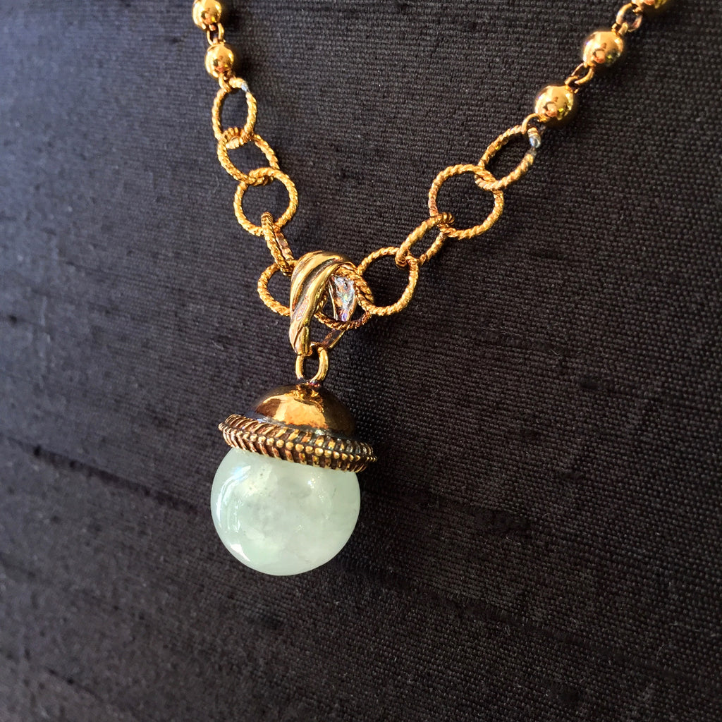 Green Aventurine Cappellino Pendant Antique Gold