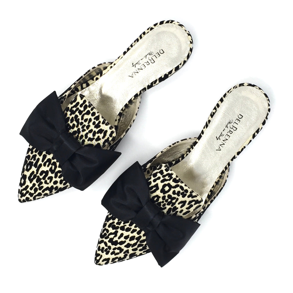 Bow Leopard Print Mules