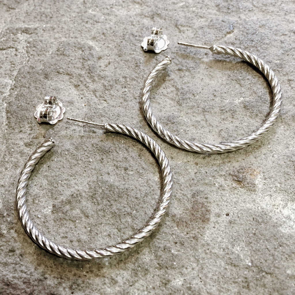 Small Rope Hoops (Rhodium)