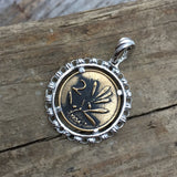 Filary Pendant in Gold & Silver with Bee Coin