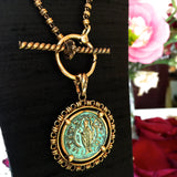 Filary Pendant in Green Patina & Gold with Cortona Coin