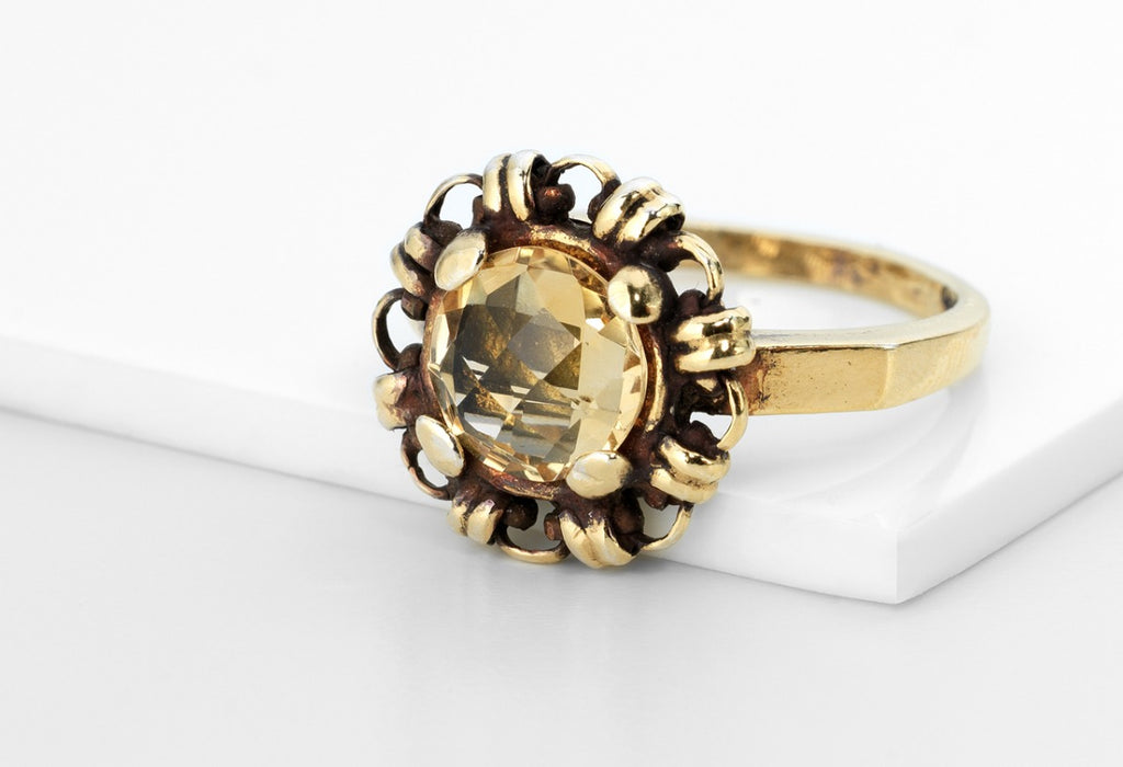 Citrine Filary Ring (8mm - Antique Gold)