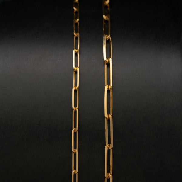 14K SOLID GOLD THIN RECTANGLE LINK