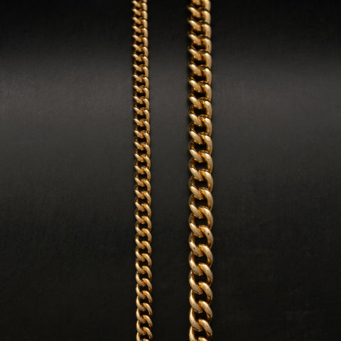 14K Solid Gold Rounded Curb Link Chain