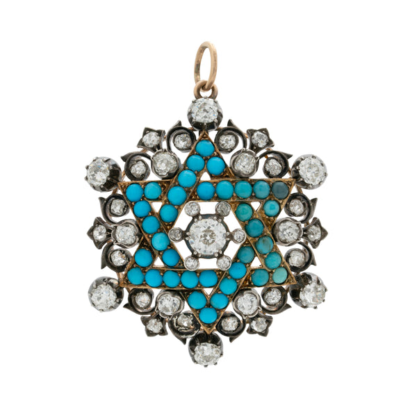 VICTORIAN 15-18K YELLOW GOLD, SILVER, DIAMOND AND PERSIAN TURQUOISE STAR OF DAVID c.1850s