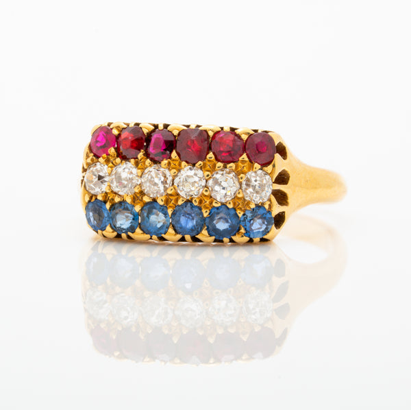 ANTIQUE FRENCH 18K YELLOW GOLD RUBY, DIAMOND, SAPPHIRE ROW RING C.1880