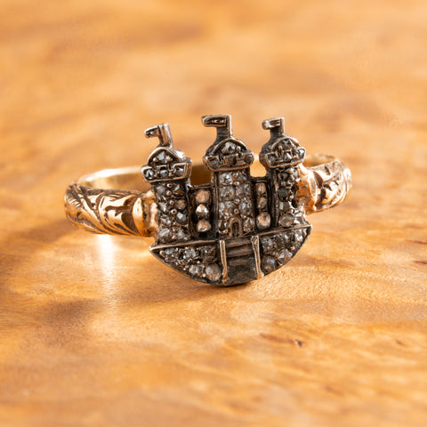 VICTORIAN 18k and SILVER and DIAMOND CASTLE RING c.1850s