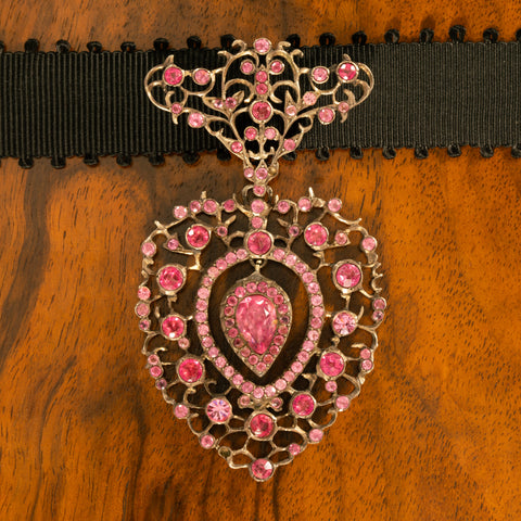 GEORGIAN PINK PASTE and SILVER HEART PENDANT c.1820s