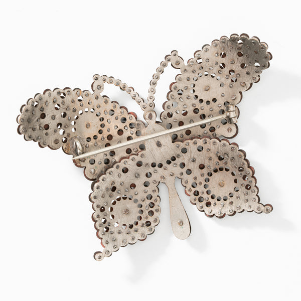 19TH CENTURY CUT STEEL EXTRA LARGE BUTTERFLY BROOCH c.1860s