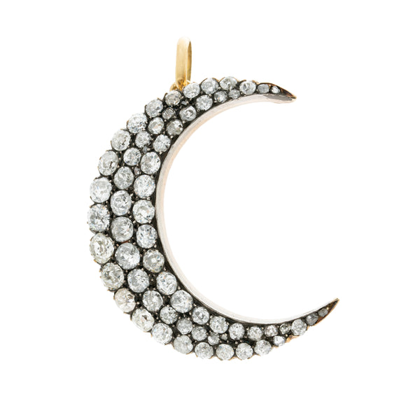 VICTORIAN 18K YELLOW GOLD, SILVER AND 7.25CTS. DIAMOND CRESCENT MOON c.1860s