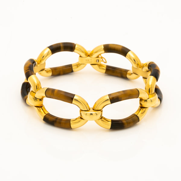 VINTAGE 18K YELLOW GOLD AND TIGERS EYE BRACELET c.1980s
