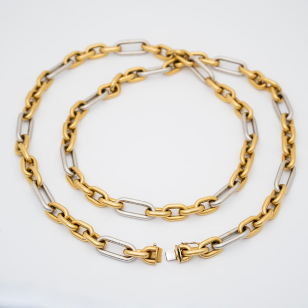 VINTAGE 18K YELLOW AND WHITE GOLD LONG CHAIN c.1980s
