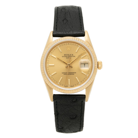 1986 ROLEX OYSTER PERPETUAL DATE 14K GOLD MODEL 15037