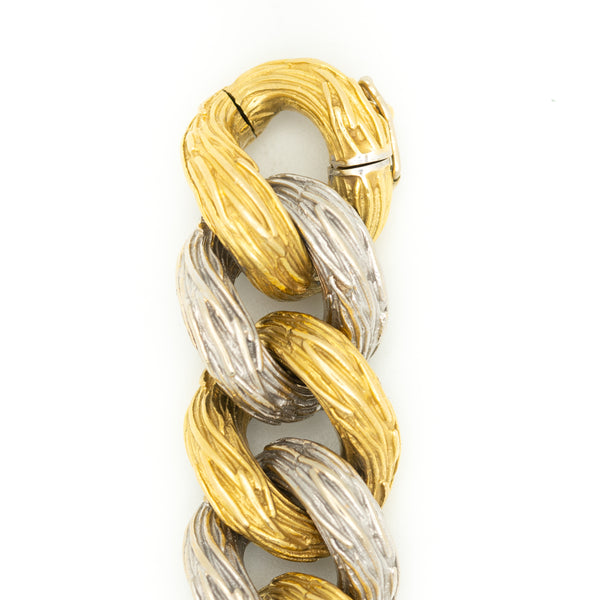 VAN CLEEF & ARPELS 18K YELLOW AND WHITE GOLD CURBLINK BRACELET c.1960s
