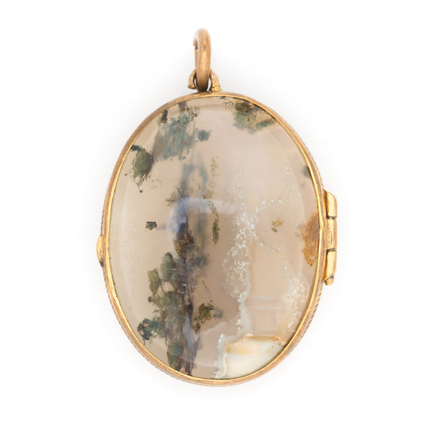 VICTORIAN 15K YELLOW GOLD, SCOTTISH AGATE AND ROCK CRYSTAL LOCKET LATE 1800s