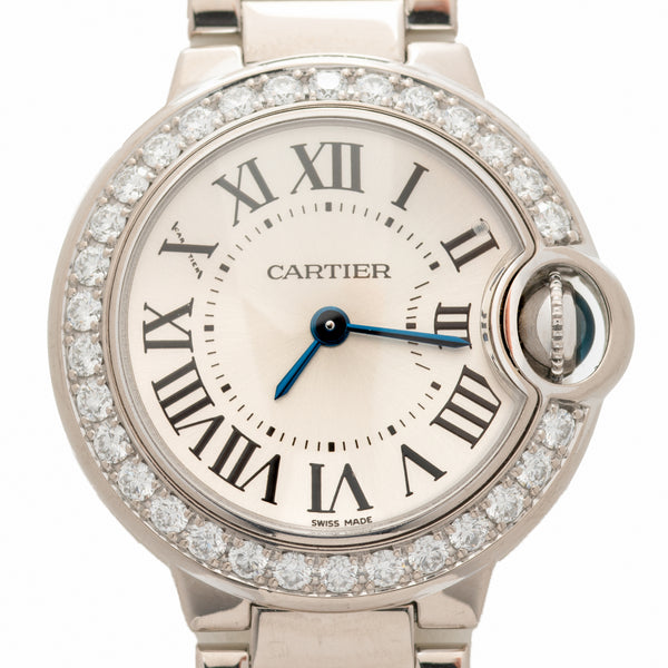 CARTIER 18K WHITE GOLD AND DIAMOND BALLON BLEU MODEL WE9003Z3