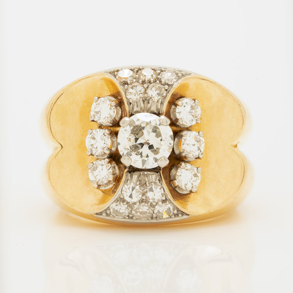 RETRO FRENCH 18K YELLOW GOLD, PLATINUM AND 1.50CTS. OLD EUROPEAN CUT DIAMOND RING c.1940s
