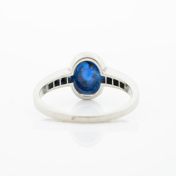 ART DECO FRENCH PLATINUM AND 1.30CT. CABOCHON SUGARLOAF SAPPHIRE RING c.1920s