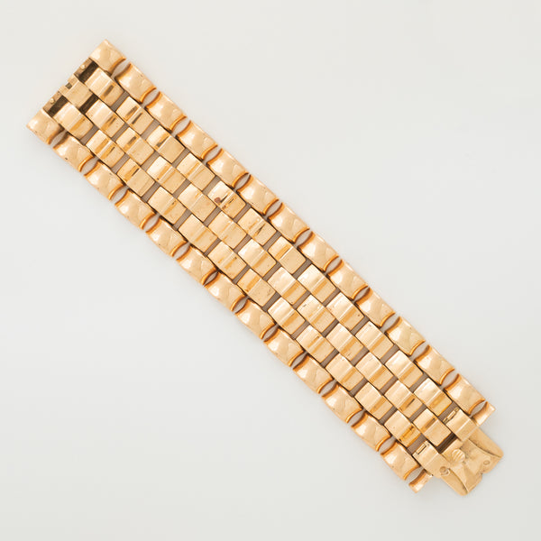 RETRO 18K ROSE GOLD TANK BRACELET c.1940s
