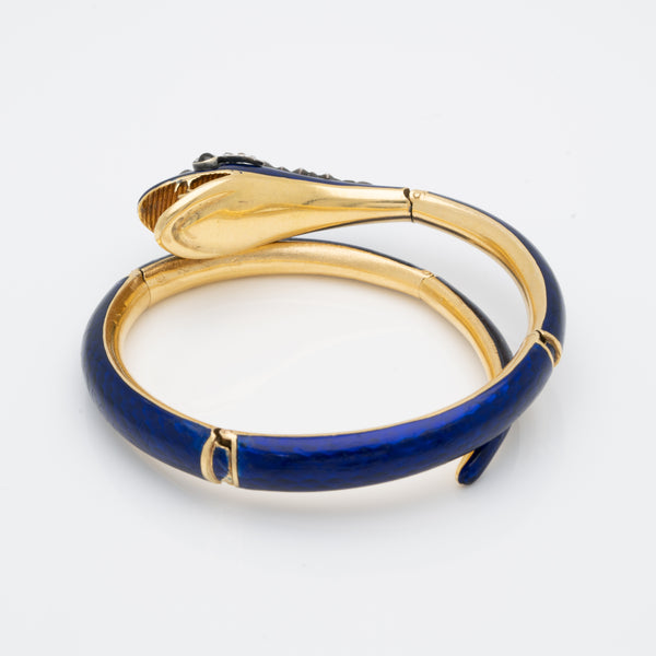 VICTORIAN 18K YELLOW GOLD, BLUE ENAMEL AND 3.0CTS OLD MINE CUT DIAMOND SNAKE WRAP BRACELET c.1880