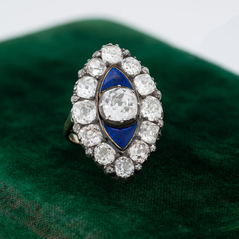 EARLY VICTORIAN 18K YELLOW GOLD, SILVER AND 6.0CTS OLD MINE CUT DIAMONDS AND BLUE GUILLOCHÉ ENAMEL RING c.1840s