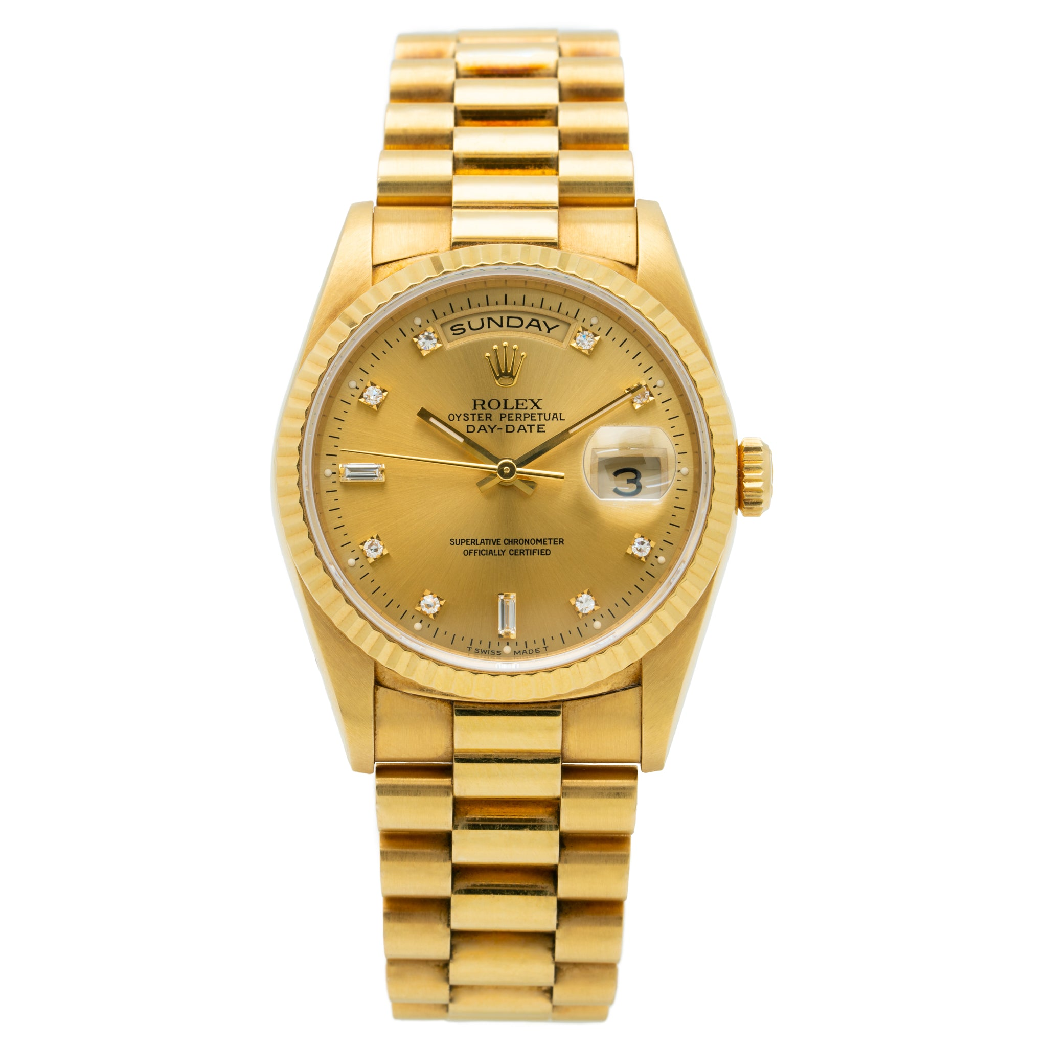 1995 ROLEX PRESIDENT DAY-DATE 18K GOLD AND DIAMOND MODEL 18238