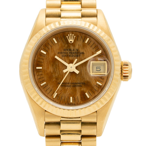 1985 ROLEX PRESIDENT LADY-DATEJUST BURL WOOD DIAL 18K GOLD MODEL 69178