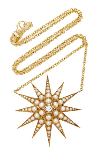 VICTORIAN 18K YELLOW GOLD, DIAMOND AND NATURAL PEARL STARBURST NECKLACE c.1880s