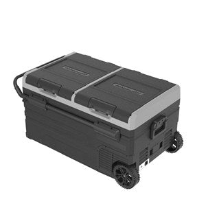 75L Brass Monkey Dual Zone Portable Fridge or Freezer with Solar Charger Board plus Handle+Wheels and Battery Compartment