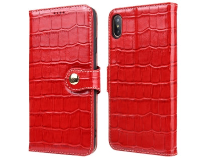 iPhone Xs Max Crocodile Patterned Top-Grain Leather Wallet Case
