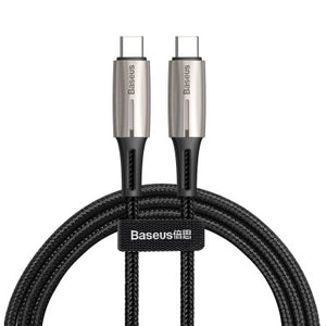 USB Data Cable Baseus, (USB type C, 100 cm, with indicator, USB type-C to USB type-C, nylon braided, 3 A, black)