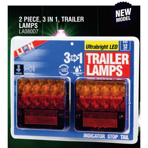 3 IN 1 Trailer Lamp Twin Pack