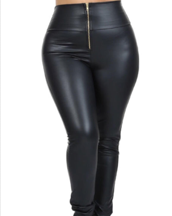 Zipped Leather Leggings