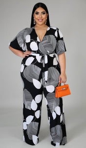 Elemental Jumpsuit-Black and White Print