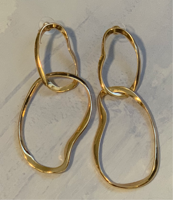 Double O earrings-Gold