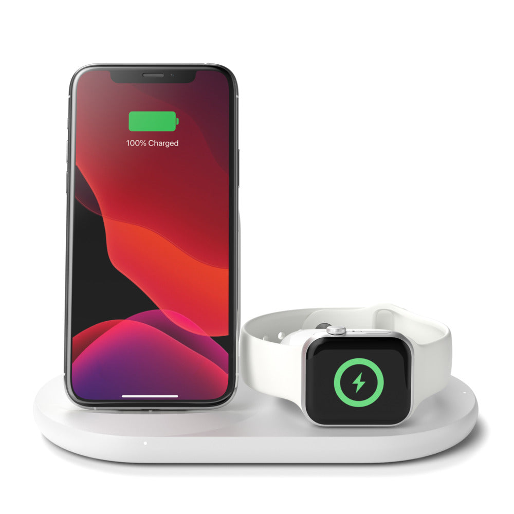 Belkin 3-in-1 Wireless Charger for iPhone + Apple Watch + AirPods (White)