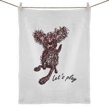 Load image into Gallery viewer, Let's play Pup 50% Linen 50% Cotton Tea Towel