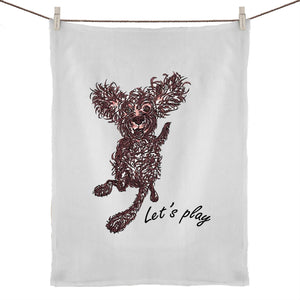 Let's play Pup 50% Linen 50% Cotton Tea Towel