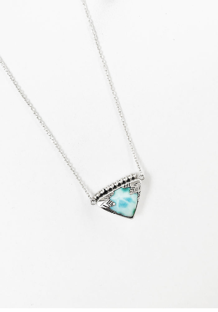 Larimar Necklace with intricate 925 sterling silver detail by Lakiki Jewellery