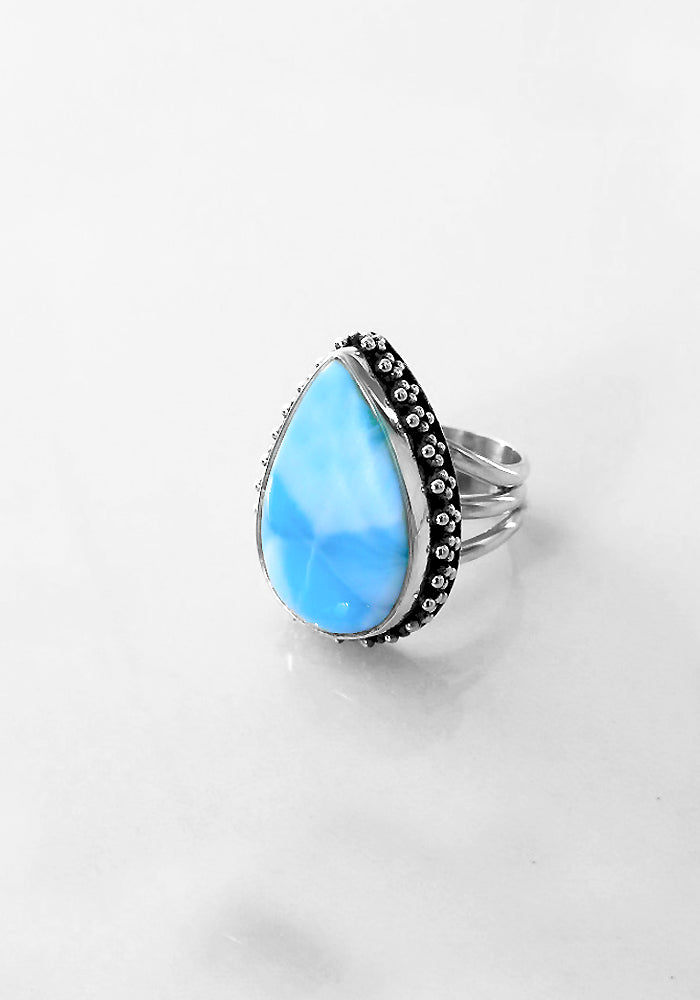Camilah Larimar Ring with large Larimar Stone and Sterling silver detail by Lakiki Jewellery