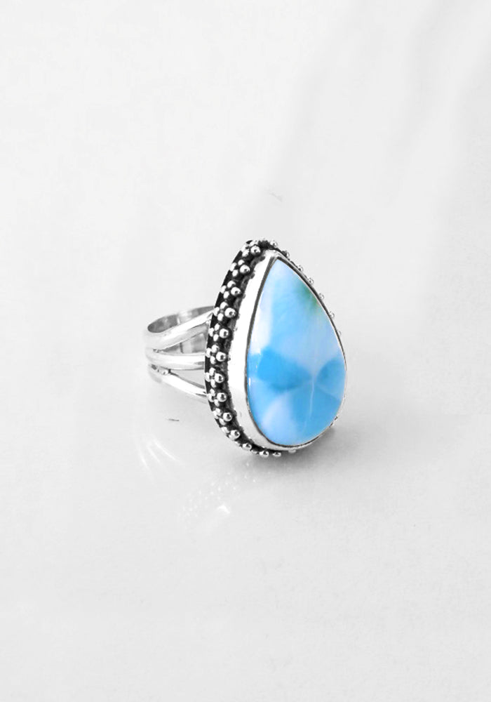 Camilah Blue Larimar Ring with intricate 925 sterling silver detail by Lakiki Jewellery