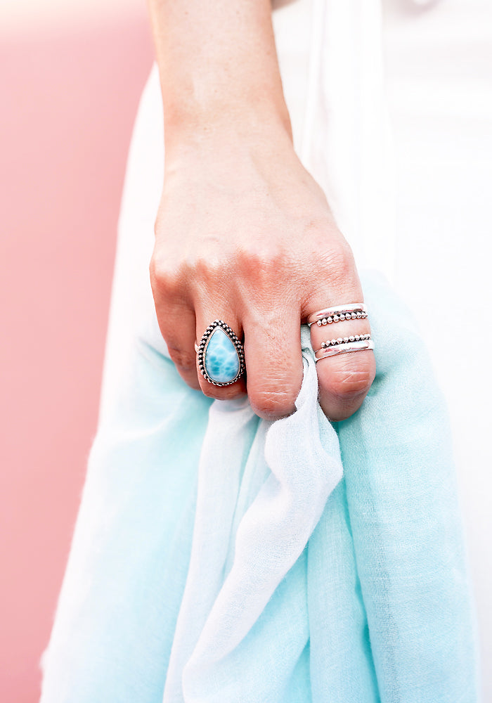 Beautiful Chanel Teardrop Larimar Stone Ring with 925 Sterling Silver bead detail by Lakiki Jewellery
