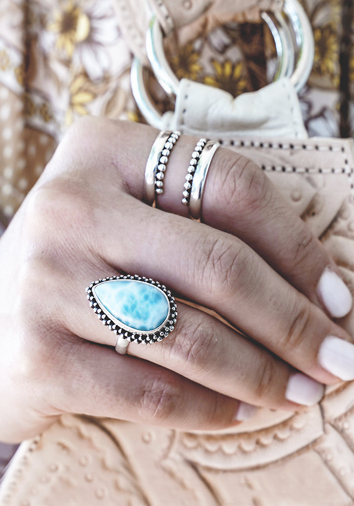 Beautiful Chanel Teardrop Larimar Ring with 925 sterling silver bead detail by Lakiki Jewellery