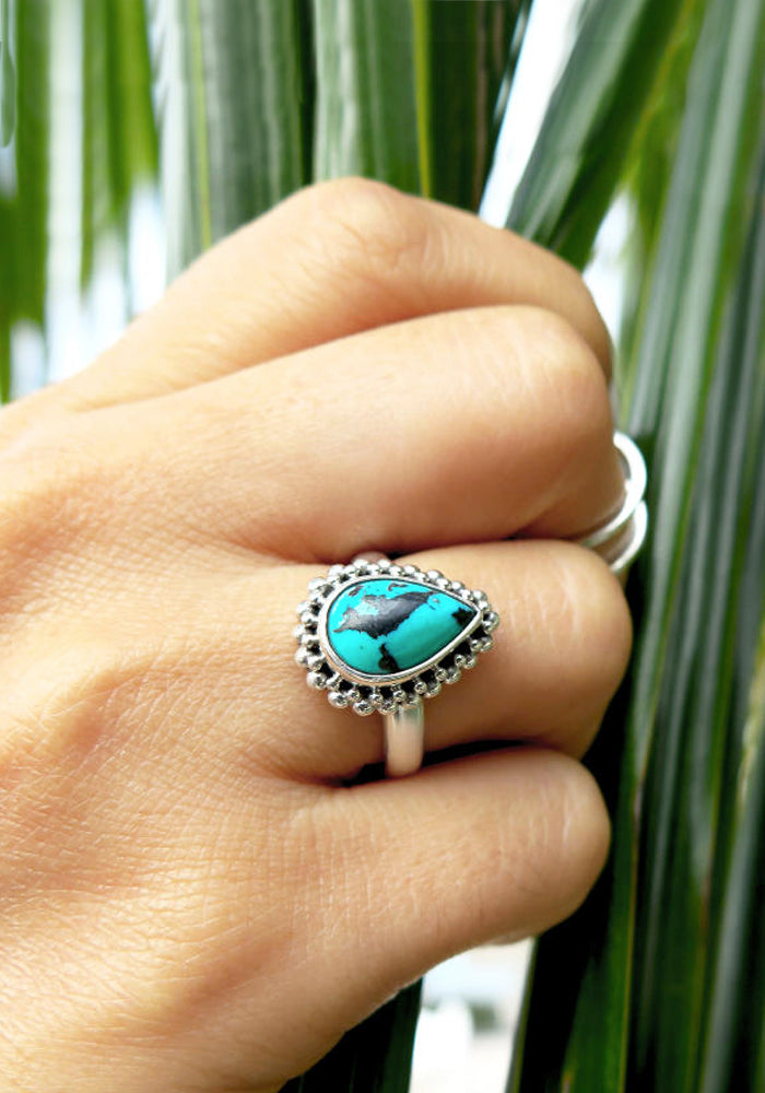 925 Sterling Silver Chanel Teardrop Turquoise Ring by Lakiki Jewellery